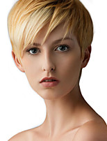 cheap -Straight Pixie Cut Machine Made Human Hair Wigs Side Part Short Natural Black Medium Auburn Beige Blonde//Bleach Blonde