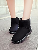 cheap -Women's Shoes Fleece Winter Fall Snow Boots Boots Flat Heel Round Toe for Casual Black Coffee Burgundy