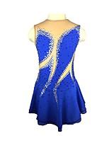 cheap -Figure Skating Dress Women's Ice Skating Dress Blue Spandex Stretchy Skating Wear Sequin Sleeveless Ice Skating