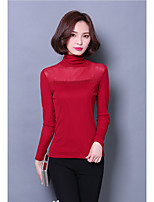 cheap -Women's Casual/Daily Sophisticated T-shirt,Solid Turtleneck Long Sleeves Polyester
