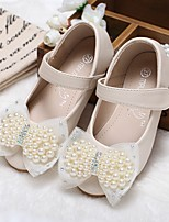 cheap -Girls' Shoes Synthetic Microfiber PU Spring Summer Flower Girl Shoes Comfort Flats Walking Shoes Beading Appliques Magic Tape for Wedding