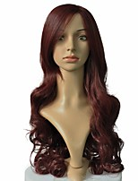 cheap -Women Synthetic Wig Long Deep Wave Red Hair Natural Wig No Bangs Cosplay Costume Wig
