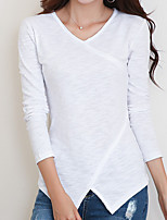 cheap -Women's Daily Casual Fall T-shirt,Solid V Neck Long Sleeve Cotton