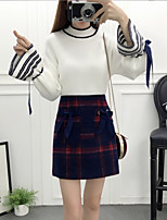 cheap -Women's Daily Casual Winter Sweater Skirt Suits,Print Turtleneck Long Sleeve Polyester