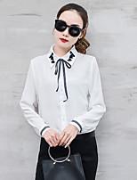 cheap -Women's Daily Wear Work Cute Shirt,Embroidery Shirt Collar Long Sleeves Cotton