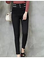 preiswerte -Damen Klassisch Mittel Polyester Solide Einfarbig Legging,Schwarz