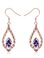 cheap -Women's Drop Earrings Cubic Zirconia Synthetic Sapphire Classic Vintage Elegant Rose Gold Titanium Drop Flower Jewelry Wedding Evening