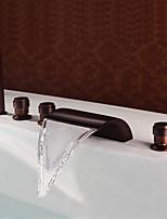 Недорогие -Античный Разбросанная Водопад Медный клапан Три ручки пять отверстий Начищенная бронза , Смеситель для ванны