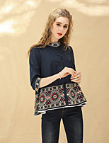 cheap -8CFAMILY Women's Holiday Going out Cute Boho Spring Summer Shirt,Print Stand ½ Length Sleeve Cotton Thin