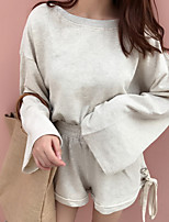 cheap -Women's Going out Simple Winter Hoodie Pant Suits,Solid Round Neck Long Sleeves Polyester