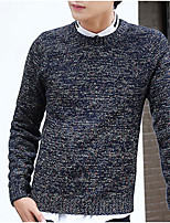 cheap -Men's Daily Casual Regular Pullover,Print Round Neck Long Sleeves Nylon Winter Fall Opaque Micro-elastic