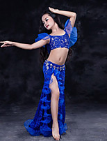 cheap -Belly Dance Outfits Children's Performance Lace Organza Milk Fiber Lace Pleated Short Sleeve Dropped Skirts Tops