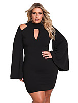 cheap -Women's Party Sexy Bodycon Mini Dress,Solid Turtleneck Long Sleeve Winter High Waist