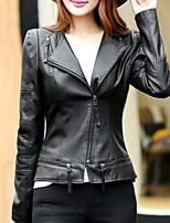 Недорогие -Жен. Повседневные Зима Кожаные куртки V-образный вырез,Простой Однотонный Длинная Длинные рукава,Полиуретановая Хлопок,Крупногабаритные