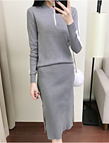 cheap -Women's Going out Casual/Daily Simple Spring/Fall Set Dress Suits,Solid Round Neck Long Sleeves Acrylic