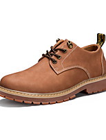 cheap -Men's Shoes PU Spring Fall Comfort Oxfords for Outdoor Black Gray Brown