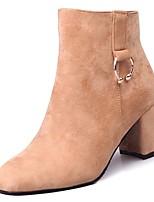 preiswerte -Damen Schuhe Nubukleder Winter Springerstiefel Stiefel Blockabsatz Runde Zehe Mittelhohe Stiefel Strass für Normal Schwarz Braun