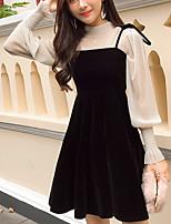abordables -Mujer Tallas Grandes Largo Conjunto - Color sólido, De Gran Tamaño Vestidos