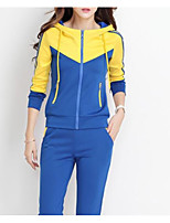 cheap -Women's Sports Simple Spring Fall Hoodie Pant Suits,Color Block Hooded Long Sleeve Cotton