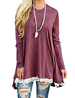 cheap -Women's Boho Cotton Polyester T-shirt - Solid Striped Color Block