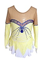 cheap -Figure Skating Dress Girls' Ice Skating Dress Yellow Spandex Stretchy Beginner Professional Skating Wear Angel Fashion Rhinestone Long