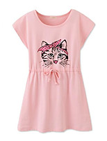 cheap -Girl's Daily Cat Dress,Cotton Summer Short Sleeves Simple Active Fuchsia Yellow Gray Blushing Pink