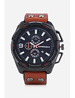 cheap -Men's Sport Watch Fashion Watch Wrist watch Chinese Quartz Calendar / date / day Leather Band Casual Black Brown