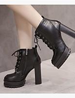Недорогие -Жен. Обувь Наппа Leather Полиуретан Зима Осень Удобная обувь Ботинки На толстом каблуке Закрытый мыс Ботинки для Повседневные на открытом