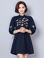 cheap -Women's Casual/Daily A Line Dress,Embroidered Stand Above Knee 3/4 Sleeve Cotton Summer Mid Rise Micro-elastic Thin