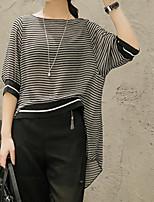 preiswerte -Damen Gestreift Freizeit Alltag T-shirt,Rundhalsausschnitt Frühling Sommer Langärmelige Baumwolle