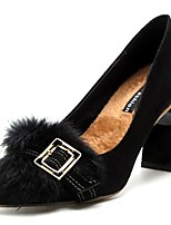 cheap -Women's Shoes PU Winter Fur Lining Basic Pump Comfort Heels Chunky Heel Pointed Toe for Dress Brown Black