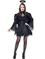 abordables -Angel y Diablo Disfrace de Cosplay Mujer Halloween Festival / Celebración Disfraces de Halloween Negro Halloween