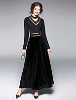 cheap -MAXLINDY Women's Party Going out Vintage A Line Sheath DressPatchwork V Neck Maxi Long Sleeve Polyester Tulle Velvet Winter Fall Medium Waist