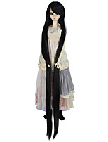 cheap -Synthetic Doll Accessories Very Long Straight Black Color Wig for 1/3 1/4 BJD SD DZ MSD Doll hair Not for Human Adult Wigs