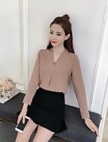 Недорогие -Для женщин На выход Офис Весна/осень Рубашка V-образный вырез,Изысканный Однотонный Длинный рукав,Другое