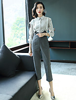EWUS Women's Going out Work Sexy Street chic Spring Summer Shirt Pant Suits,Solid Shirt Collar 3/4 Sleeve Rayon Polyester Elastane