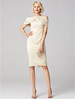 abordables -Fourreau / Colonne Bijoux Mi-long Satin Jersey Soirée Cocktail Robe avec Pan drapé Plissé par TS Couture®