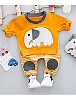 preiswerte -Kinder Kleidungs Set Tierfell-Druck Polyester Frühling Grau Gelb