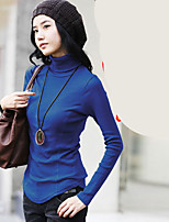 cheap -Women's Daily Casual Spring Summer T-shirt,Solid Turtleneck Long Sleeve Polyester