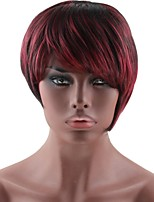 cheap -Synthetic Hair Wigs Straight Layered Haircut Bob Haircut Capless Celebrity Wig Natural Wigs Black Red