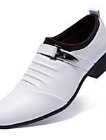 cheap -Men's Shoes Leatherette Spring Fall Formal Shoes Loafers & Slip-Ons Booties/Ankle Boots Buckle for Wedding Office & Career White Black