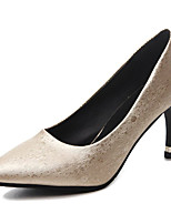 cheap -Women's Shoes PU Spring Summer Comfort Heels Kitten Heel Pointed Toe for Casual Gold Black Silver