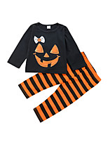 cheap -Girls' Daily Holiday Striped Print Clothing Set, Cotton Spring All Seasons Long Sleeves Cute Orange