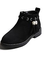 Недорогие -Девочки обувь Замша Зима Осень Удобная обувь Ботильоны Ботинки для Повседневные Черный Хаки Вино