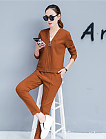 cheap -Women's Sports Casual Fall Hoodie Pant Suits,Print V-neck Long Sleeve Polyester