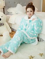 abordables -Costumes Pyjamas Femme Epais Cachemire Bleu