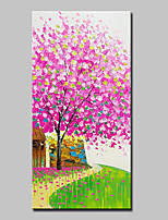 cheap -Hand-Painted Floral/Botanical Vertical,Simple Modern Canvas Oil Painting Home Decoration One Panel