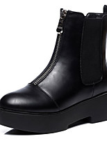 abordables -Mujer Zapatos PU microfibra sintético Primavera Otoño Confort Botas hasta el Tobillo Botas Tacón Cuadrado para Casual Negro