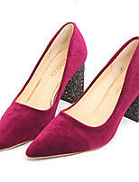 cheap -Women's Shoes PU Spring Summer Comfort Heels Chunky Heel Pointed Toe for Casual Black Burgundy