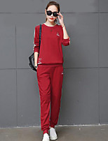 cheap -Women's Daily Casual Fall T-Shirt Pant Suits,Striped Round Neck Long Sleeve Pure Color Polyester Micro-elastic